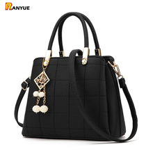 2017 Plaid Women Bag Luxury Famous Designer Brand Shoulder Bags Women Leather Handbags Women Messenger Bag Ladies Tote Bag Black(China)