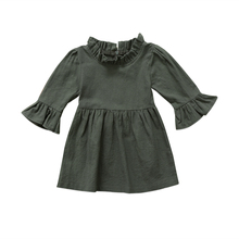 pudcoco 2017 Kid Baby Girl dress long sleeves army green princess Dress Ruffle Dress Party Dresses vintage girls clothes D21