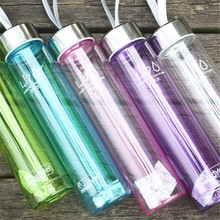 H2o Transparent Plastic Bottle With Rope Riding Sports Unbreakable Water Bottle 280ml