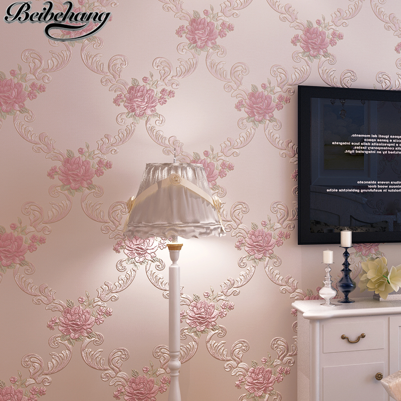 beibehang European-style garden three - dimensional sculpture large flowers non - woven wallpaper living room restaurant walkway<br>