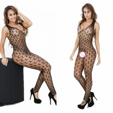 Buy Erotic Lingerie Mesh Fishnet Sexy Body Stockings Sleepwear Women's Underwear Black/Red Crotchless Bodystocking