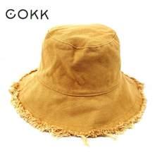 COKK cubo sombrero de los hombres de las mujeres verano pesca sombreros  chicas Casual de los pescadores de Denim lavado borla bo. be19da94b4c