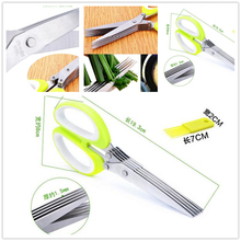 Practical  Multifunction Scissors Multi-blade Cut Caraway Shallot Onion Paper Cutter Kitchen Cooking Tools