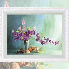 Modern Flower & Floral Art Oil Painting Style Ribbon Embroidery DIY Needlework Kit Bedroom Decoration Wholesale 2016 New Arrival(China)