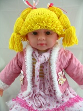 Free shipping Baby Wig Hat Crochet Cabbage Patch Kid Inspired Hat Photography Prop Kids Halloween Costume NB-8years