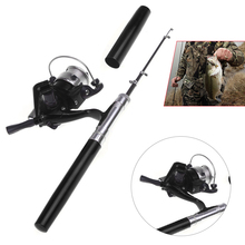 Lixada Telescopic Pen Fishing Rod Reel Combo Kit Ocean Mini Aluminum Alloy Fishing Pole + Reel Set Fishing Tackle Tool Pesca(China)