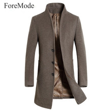 ForeMode 2016 Brand New Business Men Dress Shirt Autumn and Winter Men's Wool Coat Male In The Long Slim Men's Wool Coat