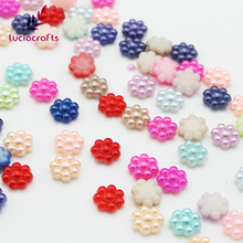 Lucia Crafts 10mm Mixed Colors Flower Shape Resin Pearls Flatback Beads DIY Handcraft Art Accessory 50pcs/100pcs 21021030(China)