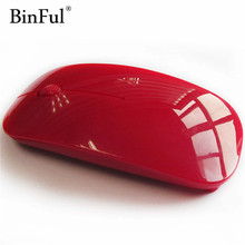 BinFul Portable Optical Wireless Mouse USB Receiver RF 2.4G For Desktop & Laptop PC Compute Peripherals Accessories 7 colors(China)
