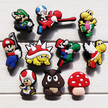 Free Shipping 10pcs/set Super Mario Shoe Charms Buckle Cartoon PVC Figure Shoe Accessories Fit Wrist band for kid Promotion Gift