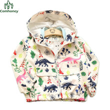 Boys Jacket Dinosaur Children Coat Long Sleeve Spring Girls Floral Coat Kids Outwear Infant Overcoat Toddle Sports Clothing