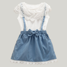 2017 New Girls Dress Girls Cute Dresses White belt Denim Dress Sleeveless Cotton Summer Sundress Lovely Girls Clothes