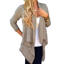 Women Long Sleeve Knitted Sweater Cardigan Open Front Coat Top Outwear DQ05