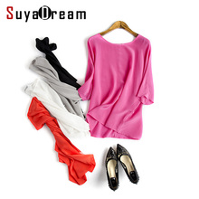 100%REAL SILK Women Blouse shirt Solid chiffon O neck Bat sleeved Half sleeved Loose shirt 2017 Spring Summer New White