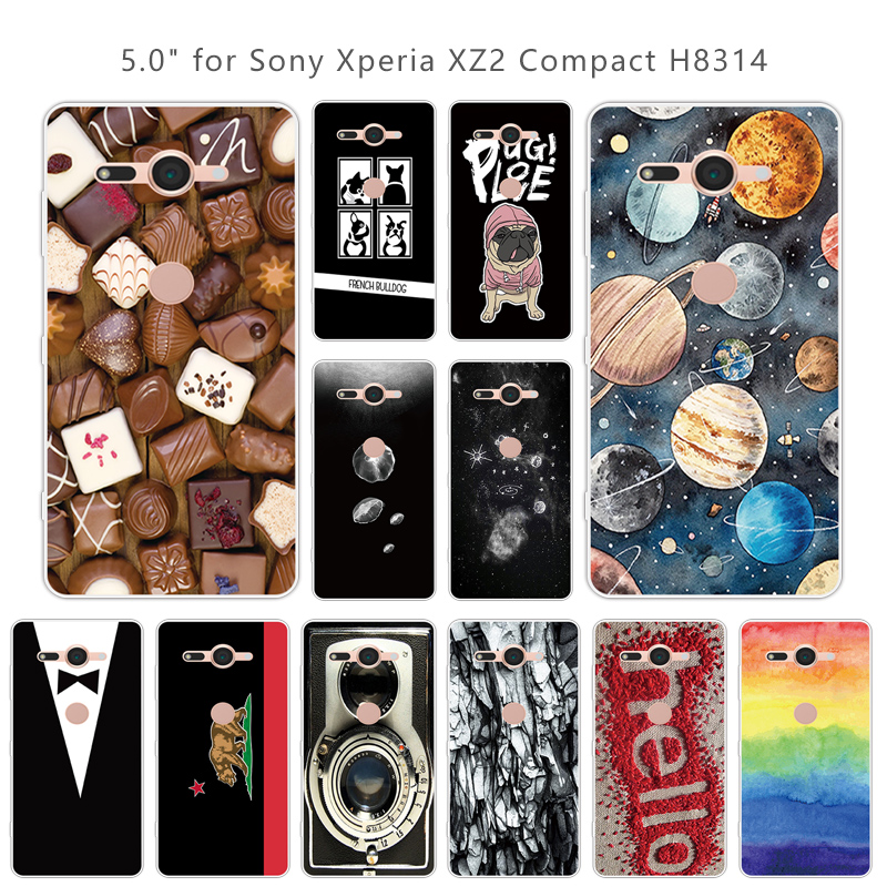 Fundas Sony Xperia XZ2 Compact H8314 H8324 Ultra Thin TPU Back Phone Colorful Cover 5.0 inch Sony XZ 2 Compact TPU Capa