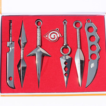 7Pcs/set Naruto Weapons Hatake Kakashi Deidara Kunai Shuriken Weapon Sword Knife Cosplay Retail 13cm With Box