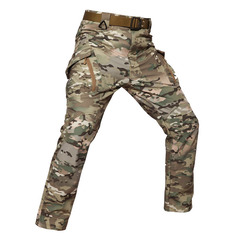 S-5XL Winter Tactical Soft Shell Fleece Pants Military Men Cargo Waterproof Warm Pants Male Combat SWAT Camouflage Trousers