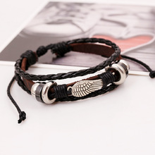 Men's Bracelets 2017 Metal Feather Wings Multi layer Accessories homme Jewelry Black Leather Bracelet Hand Braided Wristband