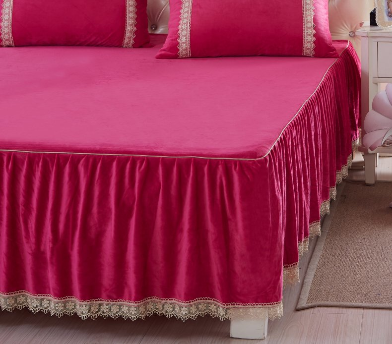 3Pcs Fleece Bed Skirt Set W/ Pillowcases, Mattress Protective Cover 47