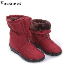 2017 Winter Women Boots Female Waterproof Mid-Calf Boots Down Warm Snow Boots Ladies Shoes Woman Zipper Fur Insole