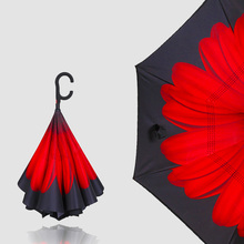 Auto Open Reverse Folding Rain, Sun and Car Umbrella UV and Windproof Umbrellas for Women and Men - Unique D Hook Handle
