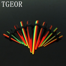 Free shipping New Hot wholesale piercing jewelry reggae ear taper Small MOQ 120pcs mixed 6 gauges rasta straight ear expander