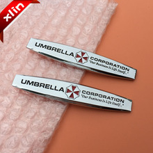 2pcs 3D metal UMBRELLA CORPORATION Resident Evil logo Car Sticker side Emblem Badge Auto rear trunk decoration Decal styling(China)