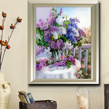 5D DIY Diamond painting Purple Lavender vase Crystal Cross Stitch Set Diamond Embroidery Mosaic Rhinestone House decor(China)