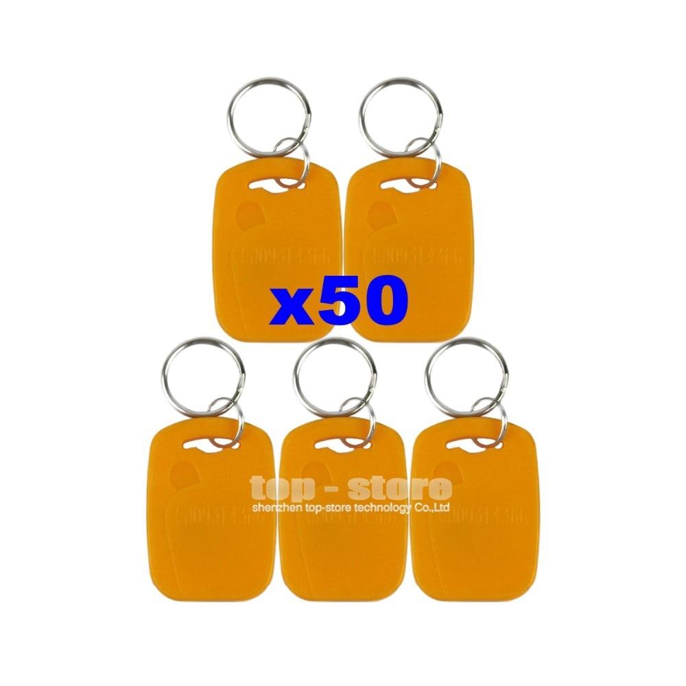 DIYSECUR 50pcs/lot For Access Control Use 125Khz RFID Proximity ID Card Keyfobs Yellow Color<br><br>Aliexpress