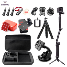 SnowHu Sport Camera Accessories Set for go pro hero 6 5 4 3 kit 3 way selfie stick for Eken h8r for xiaomi for yi EVA case GS69(China)