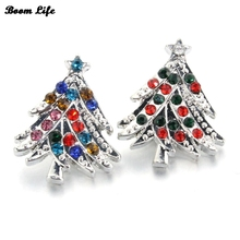 10PCS/Lot 18mm color crystal Christmas tree metal snap button Christmas gift charm jewelry 010717(China)