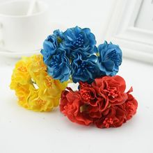 6pcs silk cheap Artificial Flowers For home wedding car decorative bride bouquet corsage fake flower garland head wreaths(China)