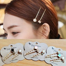 Clover pearl jewelry imported flower hair accessories hairpin side folder Bow Crystal hairpin bangs clip 4PCS / LOT(China)