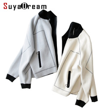 Women Wool Coat Solid winter coats Two Pockets Zipper Placket Jacket 2017 Winter Outer wear White Black Gray(China)