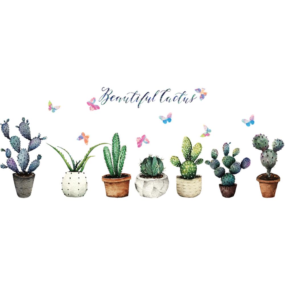 HTB1YoUphnvI8KJjSspjq6AgjXXau - Creative Pot Plant Cactus Wall Sticker