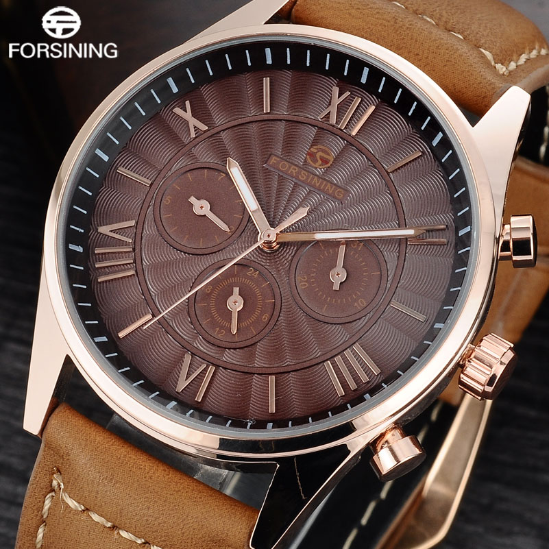 FORSINING Brand 2017 Men Classic Mechanical Watches Vintage Leather Automatic Wristwatch 24 Hours Auto Week Date Calendar Clock<br>
