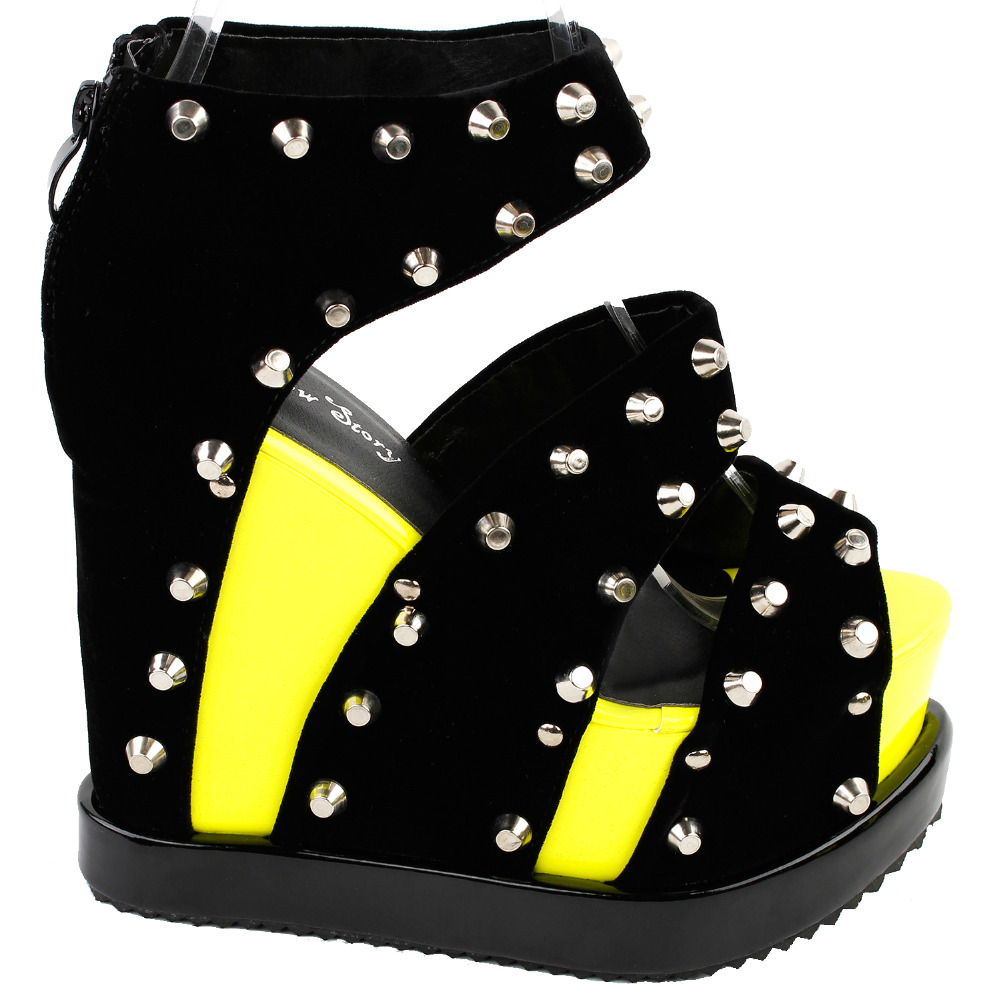 LF38826 Punk Neon Yellow Stud Open Toe Strappy Wedge Platform High Heels Sandals<br>
