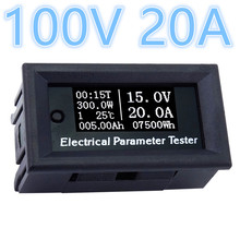 DC 100V 20A Digital Voltmeter Ammeter volotage Current Power Energy Watt Volt Amps Time temperature Meter(China)