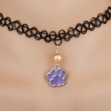 Hot Enamel Drop Glaze Dog Paws Handprint&Multicolor Glass Bead Charm Pendant Elastic Rope Necklace Accessorie High Quality B081(China)