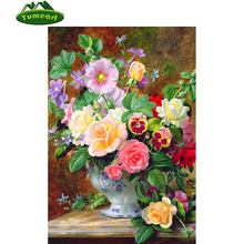 5D Diamond Painting Blossom Season 2016 DIY Diamond Embroidery Flowers Partial Mosaic Layout 45 x 60 in Vase Floral Wall Decor(China)