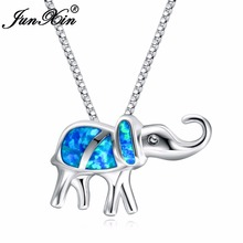 JUNXIN Lucky Elephant Blue Opal Necklace 925 Sterling Silver Filled Necklaces Pendants For Women New Fashion Animal Jewelry Gift(China)