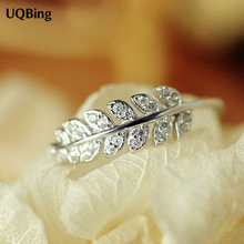 New Arrivals 925 Sterling Silver Rings For Women Girl Jewelry Crystal Stone Leafs Rings Adjustable Rings(China)