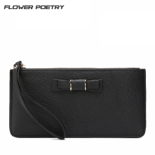 FLOWER POETRY Genuine Leather Long wallet fashion women Wallets Clutch Bag with bowknots Womens Wallets Purses Mini Bag(China)