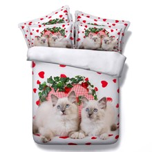 Cat Designer Bedding 3D Comforter sets quilt duvet cover bed in a bag sheets bedspread linens Cal King Queen size full twin 5PCS(China)