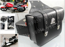 New Black PU Leather Side Bag Saddle Bags For Motorcycle Street Bike Dual Sport Bike Chopper Custom Cruisers Motorcycle Bike ATV