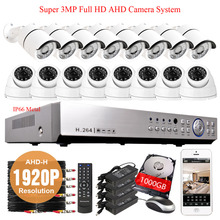 16CH 1080P AHD recording 3G Wifi CCTV system 16XSONY IMX322 1920P 3MP IP66 security in/outdoor Camera video surveillance kit