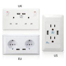 UK US EU White Double Socket Dual USB Ports 5V 2A Phone Charger For Mobile Phone Electrical Wall Plug Adapter Two USB Outlets(China)
