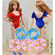 Dolls Accessories 5pcs Swimming Buoy Lifebelt Ring & 2pcs Sexy Swimwear Swimsuits Bikini For Barbie Dollhouse Baby Girl Toys(China)