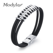 Modyle Three Layers Silicone Man Bracelet Stainless Steel Rubber Wristband Charm Bracelets Men Jewelry Accessories(China)