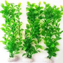 Best Quality 26cm Long Plastic Green Grass Aquarium Decor Water Sea Weed Fish Tank Decor(China)